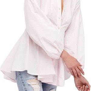 Free People All The Time White Cotton Tunic Flare